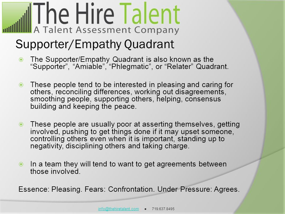 info@thehiretalent.cominfo@thehiretalent.com 719.637.8495 Supporter/Empathy Quadrant The Supporter/Empathy Quadrant is also known as the Supporter, Am