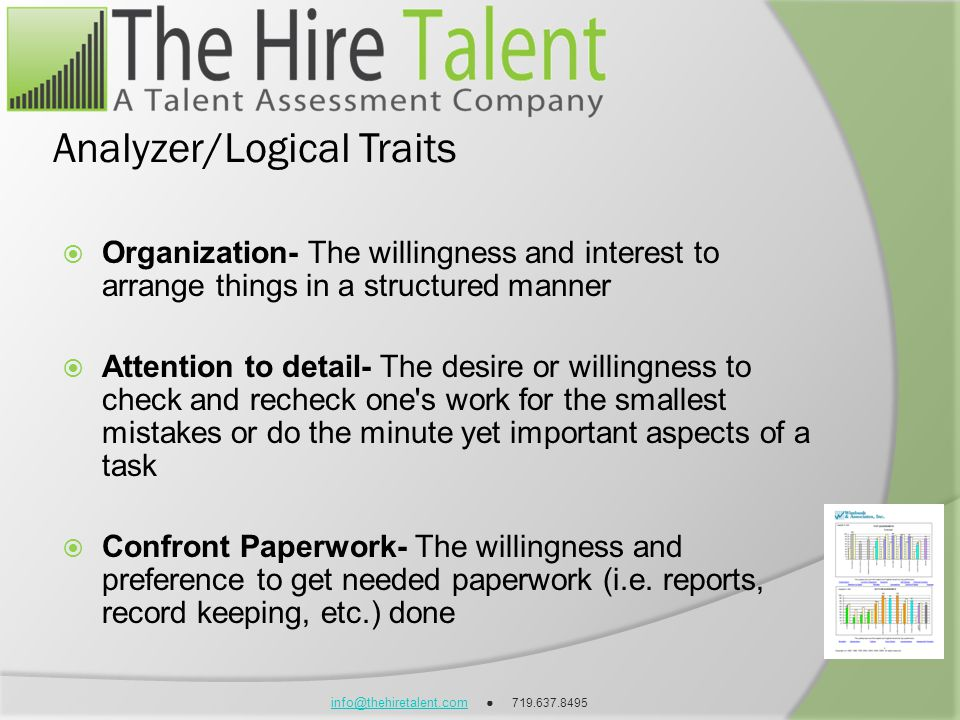 info@thehiretalent.cominfo@thehiretalent.com 719.637.8495 Analyzer/Logical Traits Organization- The willingness and interest to arrange things in a st