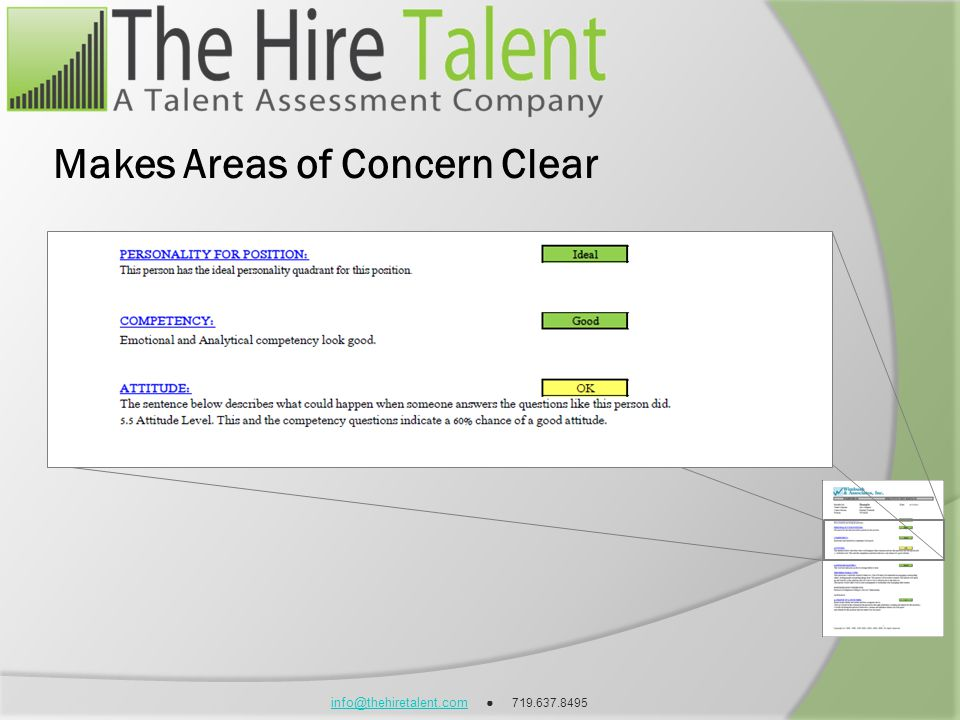 info@thehiretalent.cominfo@thehiretalent.com 719.637.8495 Makes Areas of Concern Clear