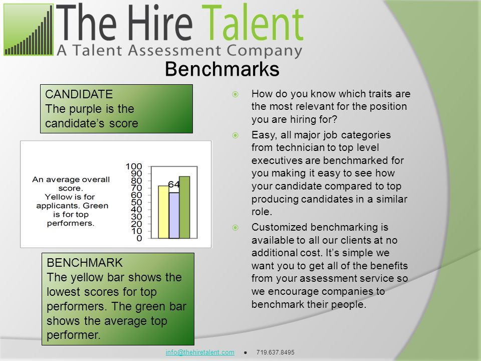 info@thehiretalent.cominfo@thehiretalent.com 719.637.8495 Benchmarks How do you know which traits are the most relevant for the position you are hirin