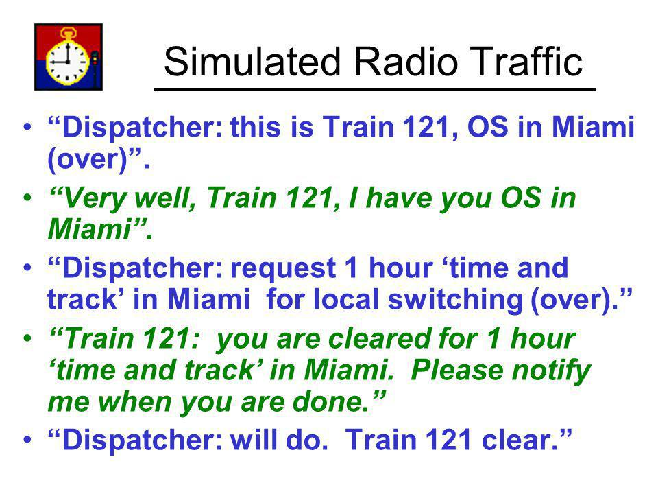 Simulated Radio Traffic Dispatcher: this is Train 121, OS in Miami (over). Very well, Train 121, I have you OS in Miami. Dispatcher: request 1 hour ti