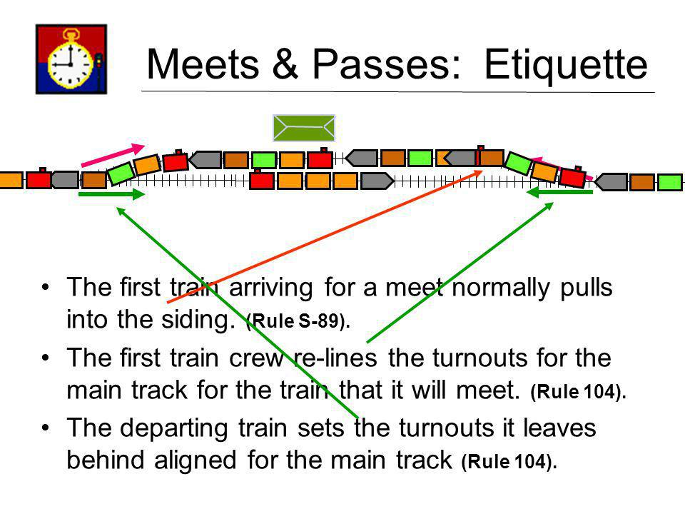 Meets & Passes: Etiquette The first train arriving for a meet normally pulls into the siding. (Rule S-89). The first train crew re-lines the turnouts