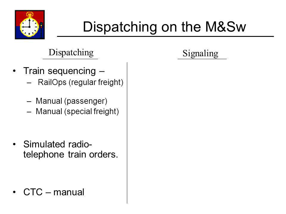 Dispatching on the M&Sw Train sequencing – – RailOps (regular freight) –Manual (passenger) –Manual (special freight) Simulated radio- telephone train