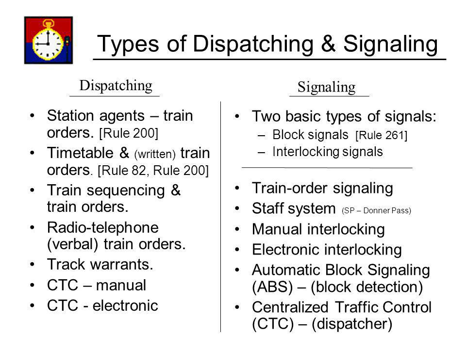 Types of Dispatching & Signaling Station agents – train orders. [Rule 200] Timetable & (written) train orders. [Rule 82, Rule 200] Train sequencing &