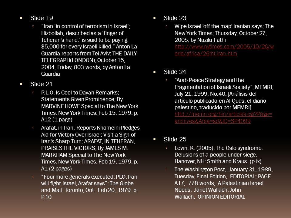 Sources (in order of presentation) Slide 5 Sachar, H.