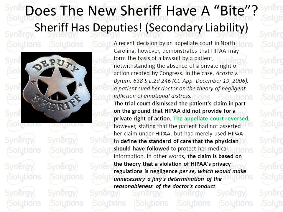 Does The New Sheriff Have A Bite. Sheriff Has Deputies.
