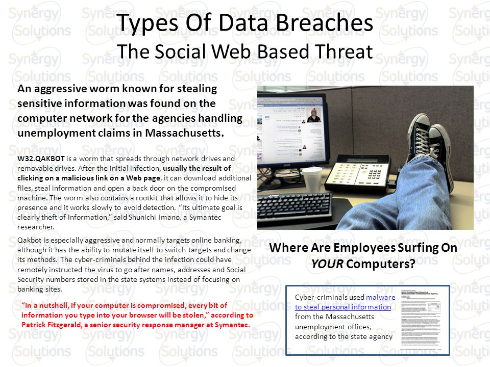 Types Of Data Breaches The Social Web Based Threat An aggressive worm known for stealing sensitive information was found on the computer network for the agencies handling unemployment claims in Massachusetts.