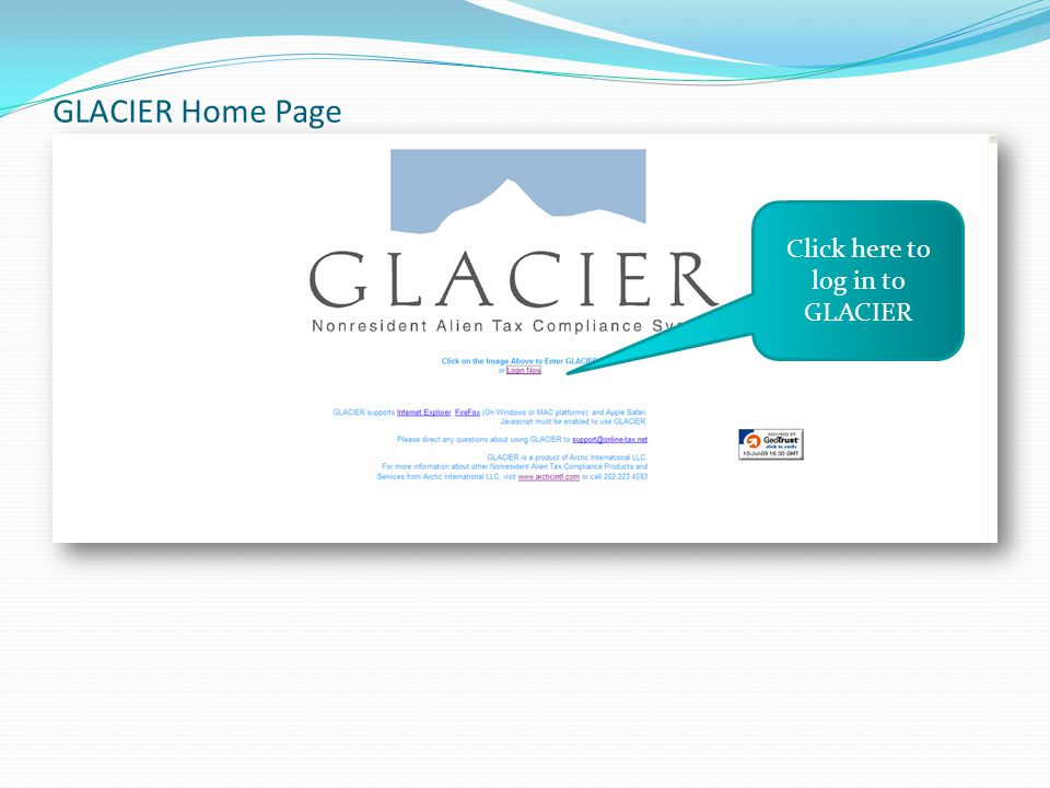 GLACIER Home Page Click here to log in to GLACIER