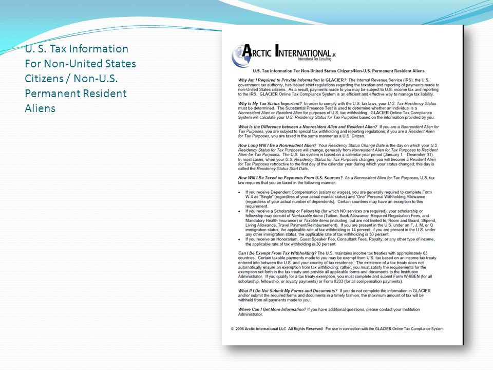 U. S. Tax Information For Non-United States Citizens / Non-U.S. Permanent Resident Aliens