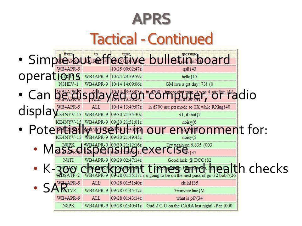 APRS Tactical - Continued Simple but effective bulletin board operations Can be displayed on computer, or radio display Potentially useful in our envi