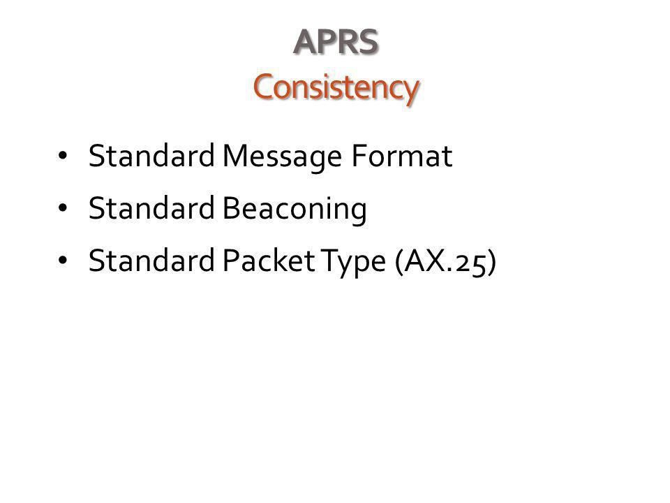 APRS Consistency Standard Message Format Standard Beaconing Standard Packet Type (AX.25)