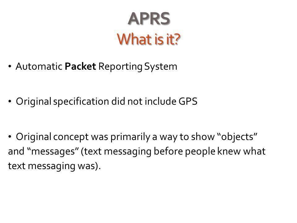Advanced APRS Features Email to Internet Address Internet Centralized email engine on the APRS network will route outbound messages to any Internet valid email address.