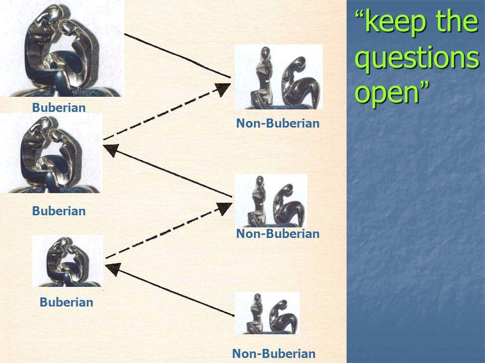 Non-Buberian Buberian keep the questions open keep the questions open