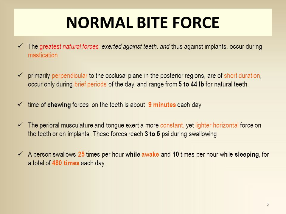 NORMAL BITE FORCE The greatest natural forces exerted against teeth, and thus against implants, occur during mastication primarily perpendicular to the occlusal plane in the posterior regions, are of short duration, occur only during brief periods of the day, and range from 5 to 44 lb for natural teeth.