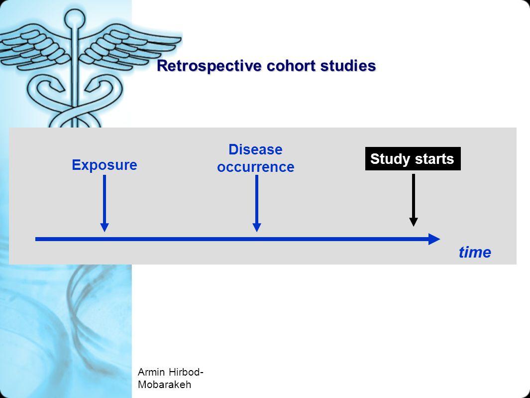 Retrospective cohort studies Exposure time Disease occurrence Study starts Armin Hirbod- Mobarakeh