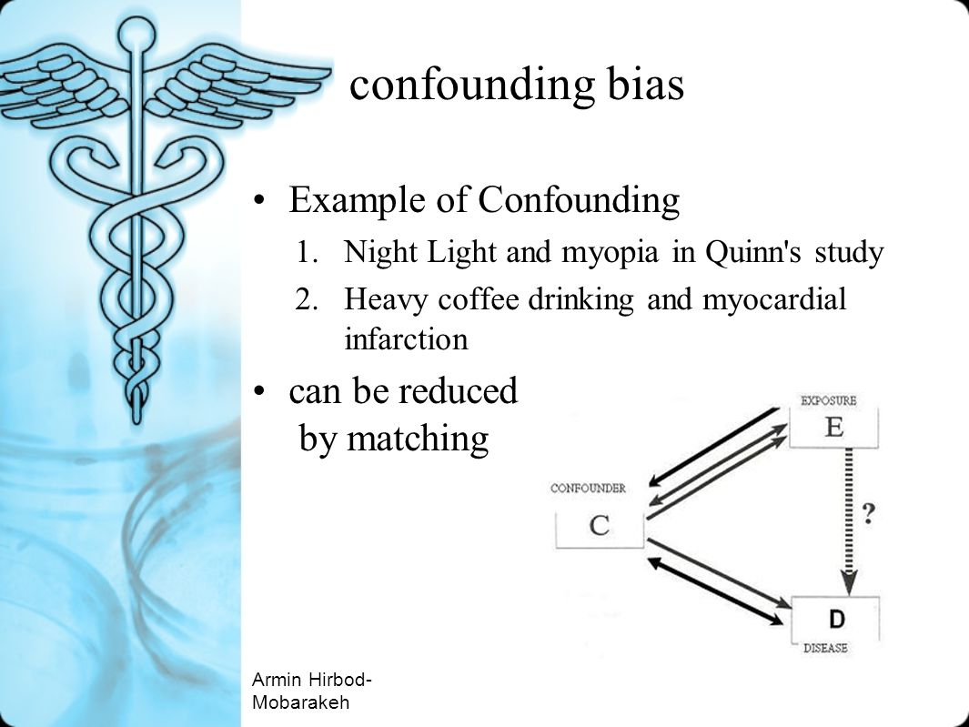 confounding bias Example of Confounding 1.Night Light and myopia in Quinn's study 2.Heavy coffee drinking and myocardial infarction can be reduced by