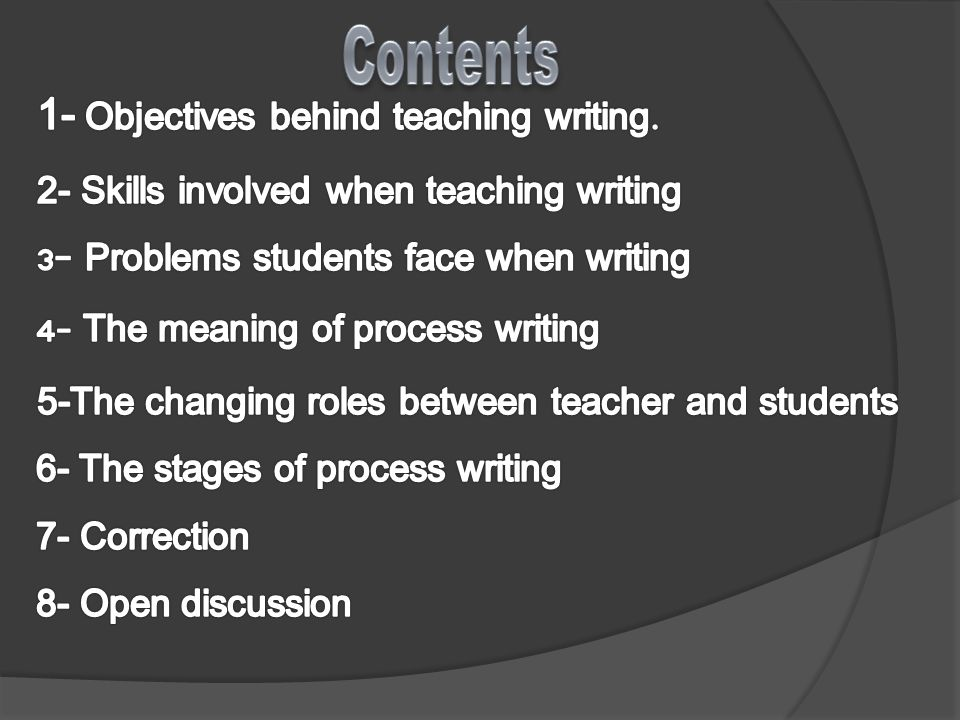 To develop students ability to write a continuous text.