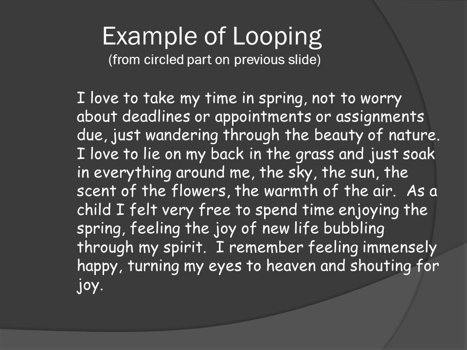 Example of Looping (from circled part on previous slide) I love to take my time in spring, not to worry about deadlines or appointments or assignments