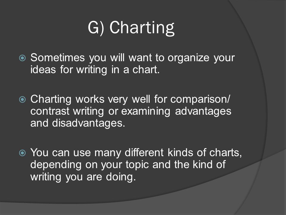 G) Charting Sometimes you will want to organize your ideas for writing in a chart. Charting works very well for comparison/ contrast writing or examin