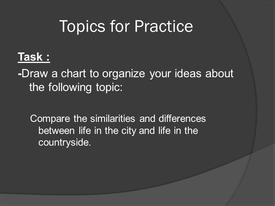 Topics for Practice Task : -Draw a chart to organize your ideas about the following topic: Compare the similarities and differences between life in th
