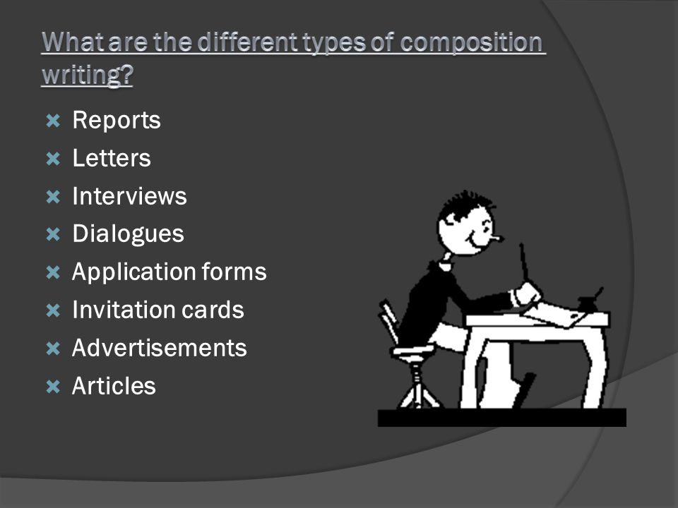 Reports Letters Interviews Dialogues Application forms Invitation cards Advertisements Articles
