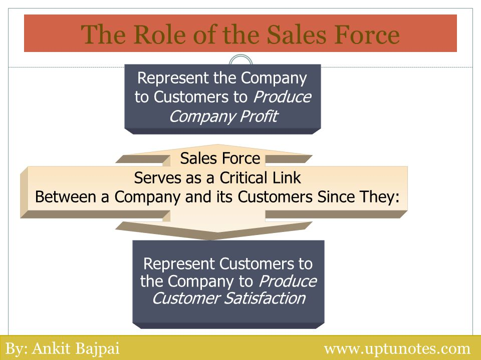 The Role of the Sales Force Sales Force Serves as a Critical Link Between a Company and its Customers Since They: Represent Customers to the Company t