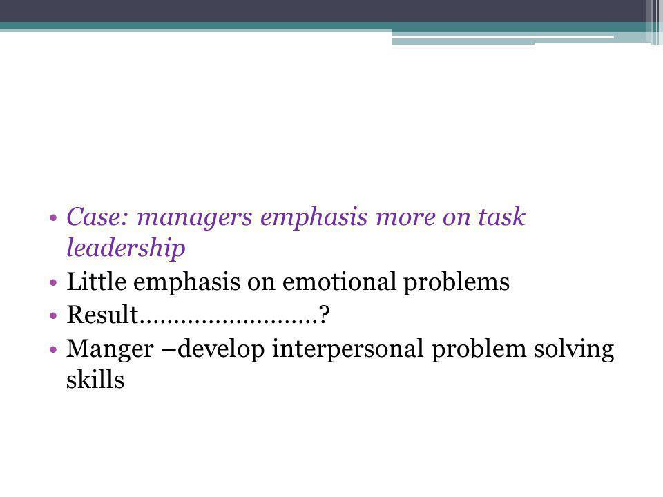 Case: managers emphasis more on task leadership Little emphasis on emotional problems Result……………………..? Manger –develop interpersonal problem solving