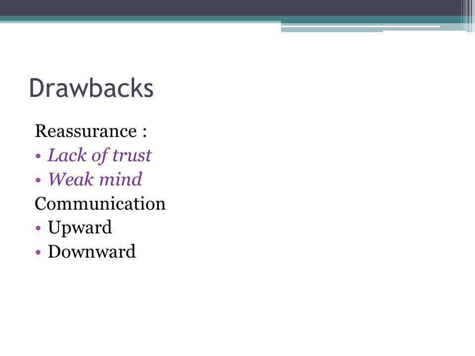 Drawbacks Reassurance : Lack of trust Weak mind Communication Upward Downward