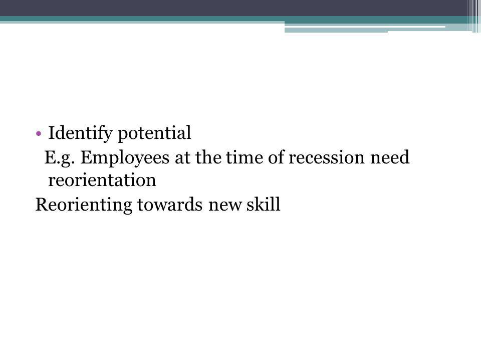 Identify potential E.g. Employees at the time of recession need reorientation Reorienting towards new skill