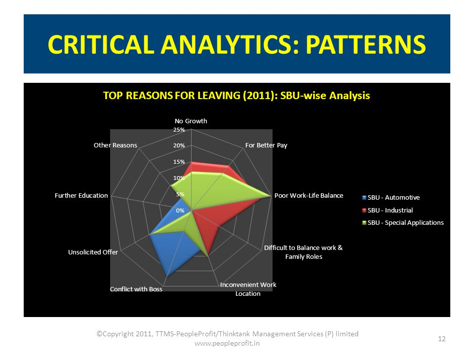 CRITICAL ANALYTICS: PATTERNS 12 ©Copyright 2011, TTMS-PeopleProfit/Thinktank Management Services (P) limited www.peopleprofit.in