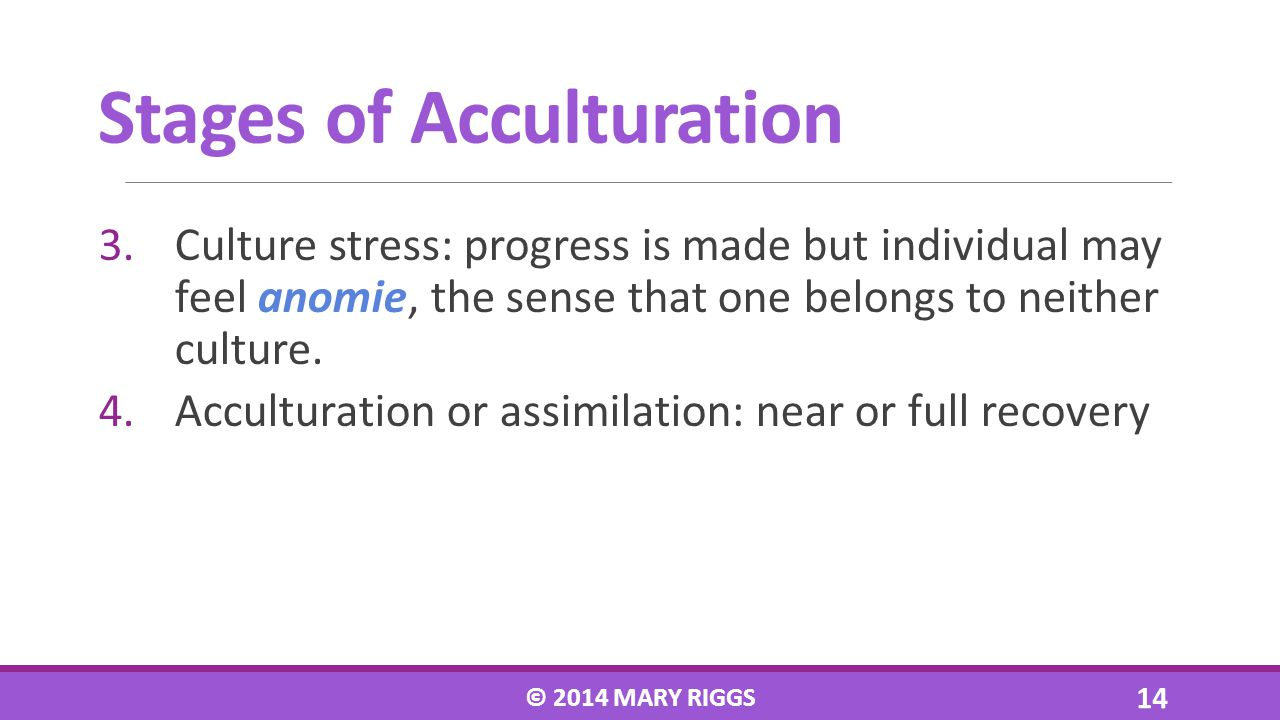 3.Culture stress: progress is made but individual may feel anomie, the sense that one belongs to neither culture. 4.Acculturation or assimilation: nea