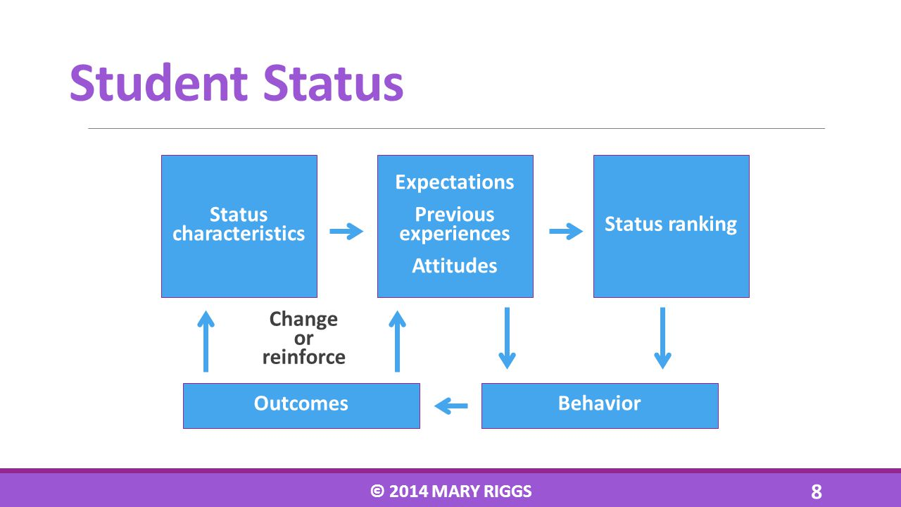 Student Status Status characteristics Expectations Previous experiences Attitudes Outcomes Behavior Change or reinforce Status ranking © 2014 MARY RIG