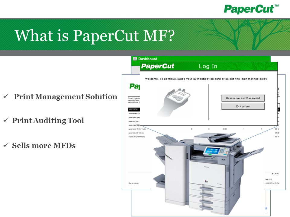 What is PaperCut MF? Print Auditing Tool Print Management Solution Sells more MFDs