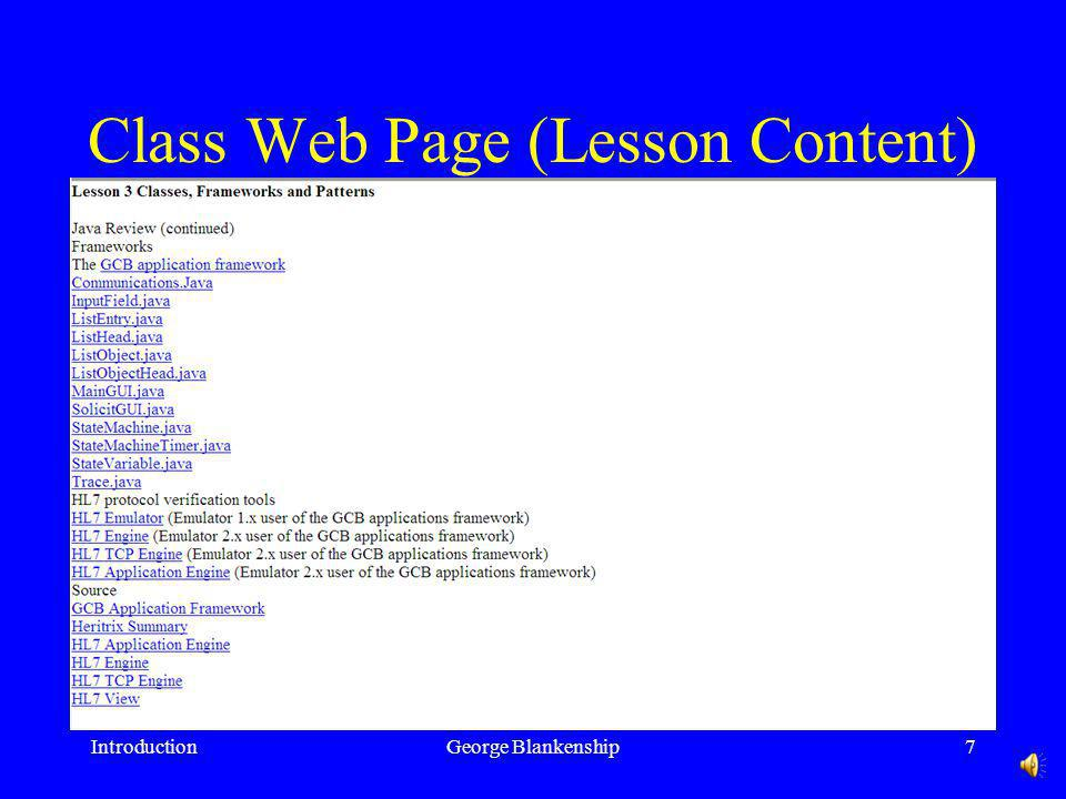 Class Web Page (Lesson Plan) IntroductionGeorge Blankenship6