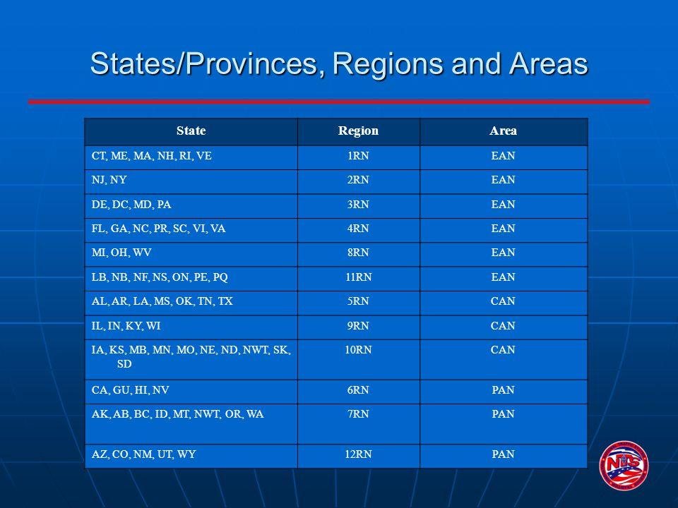 StateRegionArea CT, ME, MA, NH, RI, VE1RNEAN NJ, NY2RNEAN DE, DC, MD, PA3RNEAN FL, GA, NC, PR, SC, VI, VA4RNEAN MI, OH, WV8RNEAN LB, NB, NF, NS, ON, P