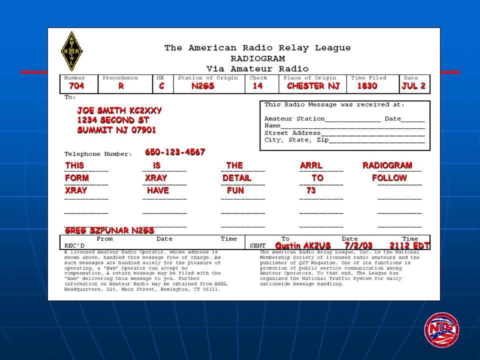 704 R C N2GS 14 CHESTER NJ 1830 JUL 2 GREG SZPUNAR N2GS JOE SMITH KC2XXY 1234 SECOND ST SUMMIT NJ 07901 650-123-4567 a ustin AK2US 7/2/03 2112 EDT a u