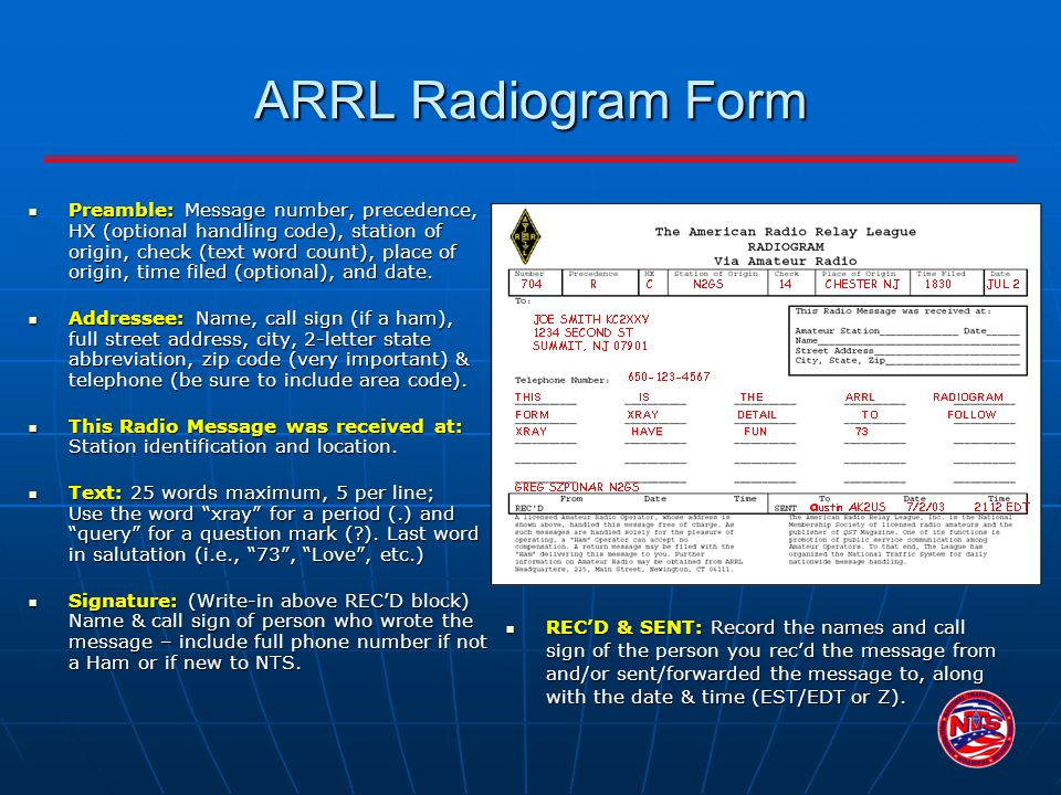 ARRL Radiogram Form Preamble: Message number, precedence, HX (optional handling code), station of origin, check (text word count), place of origin, ti