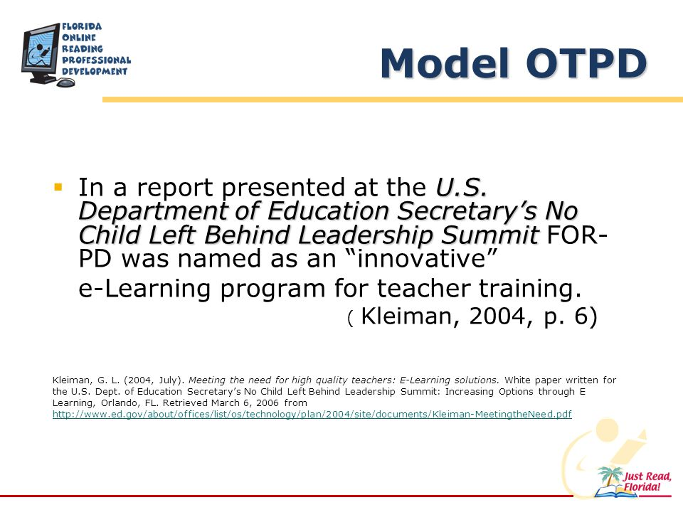 U.S. Department of Education Secretarys No Child Left Behind Leadership Summit In a report presented at the U.S. Department of Education Secretarys No