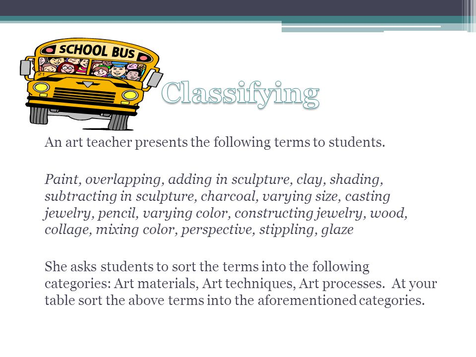 An art teacher presents the following terms to students.