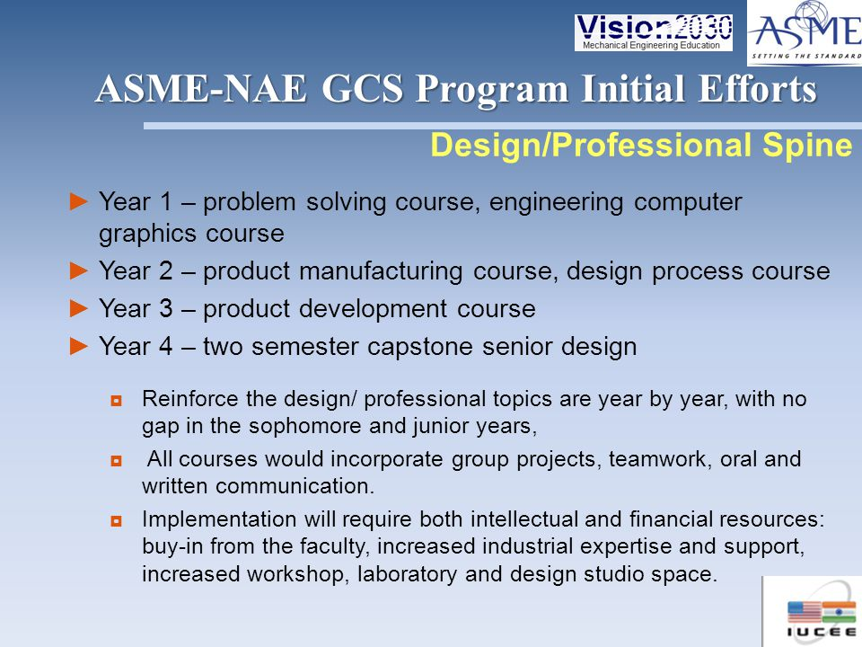 Year 1 – problem solving course, engineering computer graphics course Year 2 – product manufacturing course, design process course Year 3 – product de