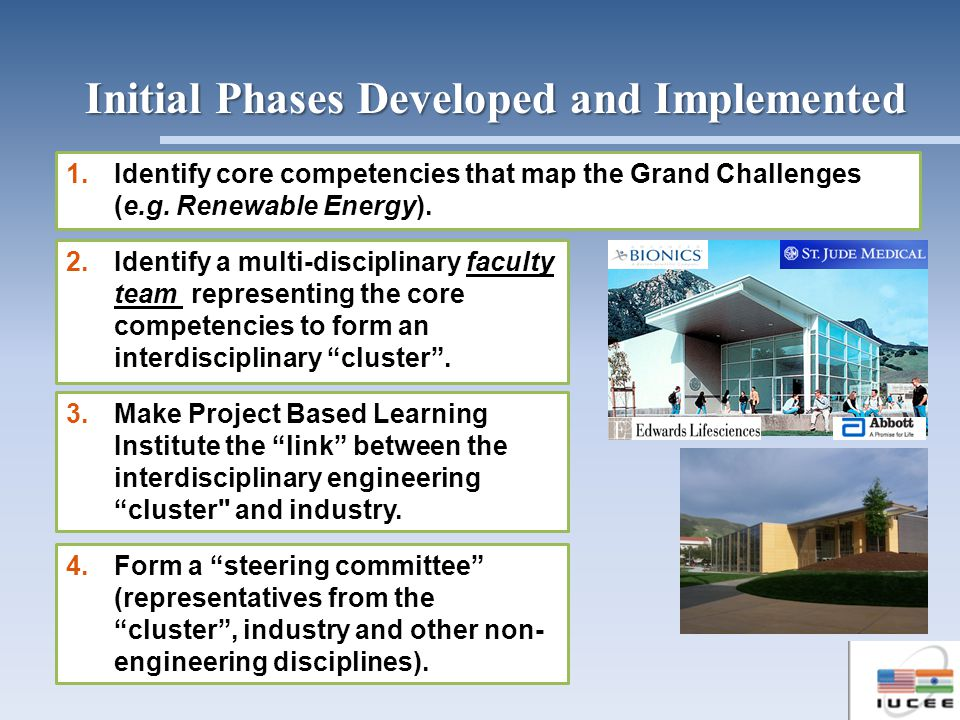 1.Identify core competencies that map the Grand Challenges (e.g. Renewable Energy). 2.Identify a multi-disciplinary faculty team representing the core