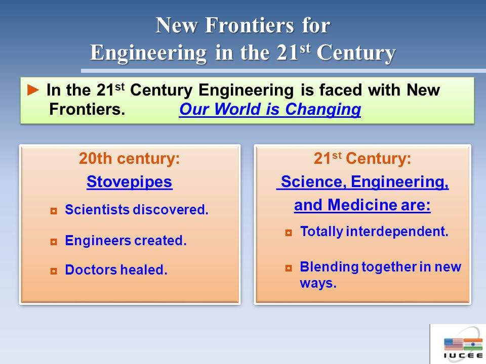 In the 21 st Century Engineering is faced with New Frontiers. Our World is Changing In the 21 st Century Engineering is faced with New Frontiers. Our