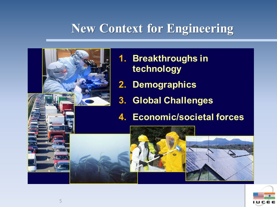 5 1.Breakthroughs in technology 2.Demographics 3.Global Challenges 4.Economic/societal forces New Context for Engineering