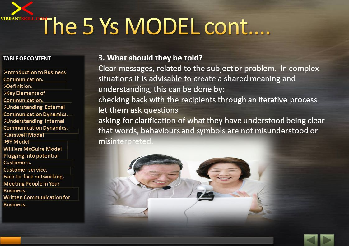 3. What should they be told? Clear messages, related to the subject or problem. In complex situations it is advisable to create a shared meaning and u