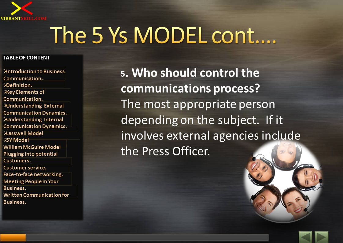 5. Who should control the communications process? The most appropriate person depending on the subject. If it involves external agencies include the P