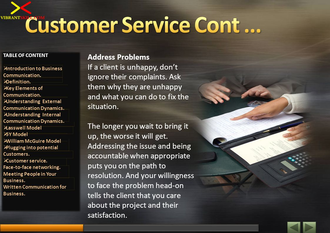Address Problems If a client is unhappy, dont ignore their complaints. Ask them why they are unhappy and what you can do to fix the situation. The lon