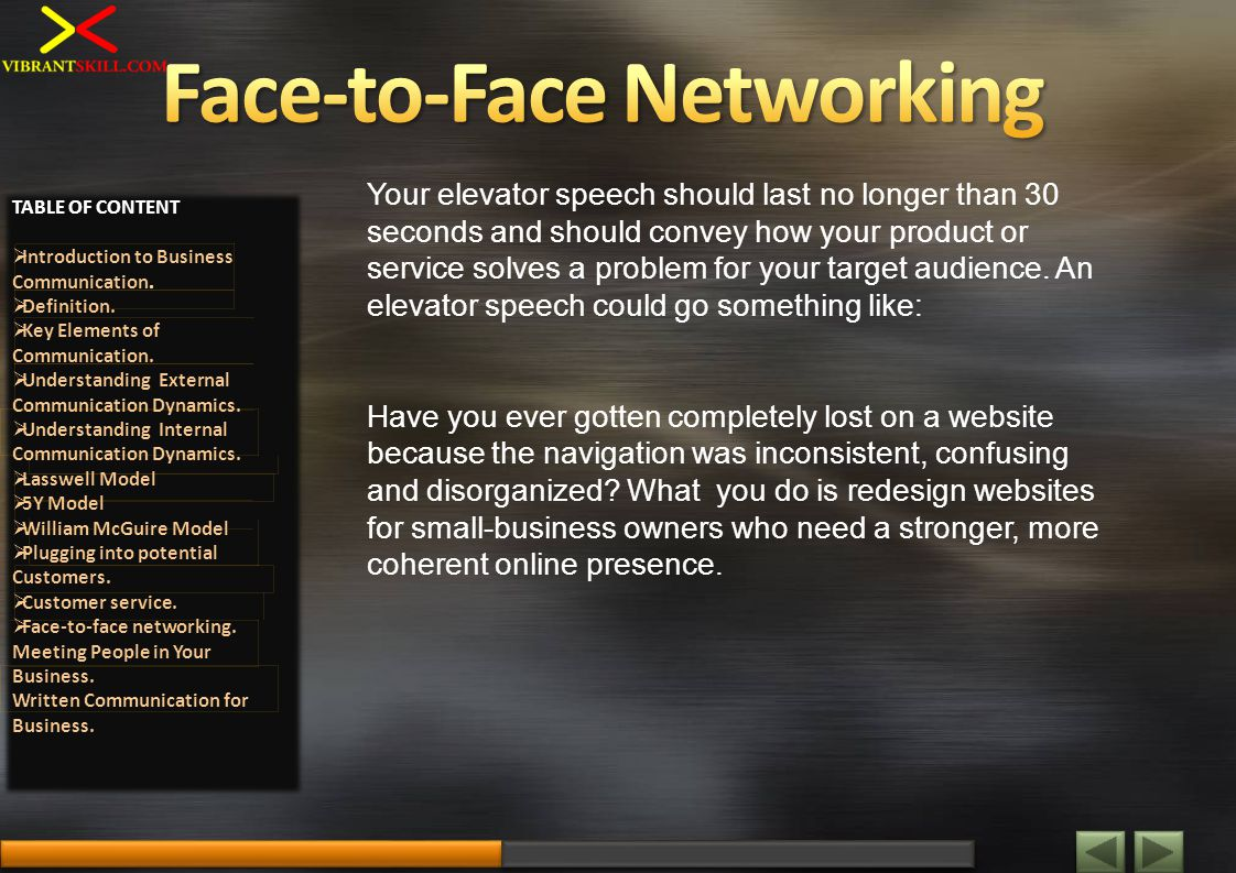 Your elevator speech should last no longer than 30 seconds and should convey how your product or service solves a problem for your target audience. An