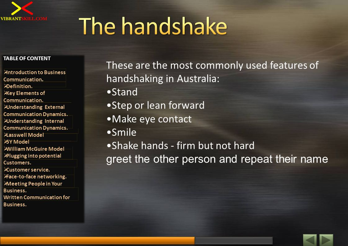 These are the most commonly used features of handshaking in Australia: Stand Step or lean forward Make eye contact Smile Shake hands - firm but not hard greet the other person and repeat their name TABLE OF CONTENT Introduction to Business Communication.