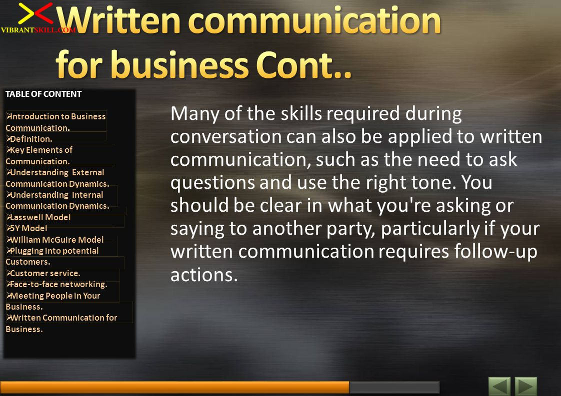 Many of the skills required during conversation can also be applied to written communication, such as the need to ask questions and use the right tone