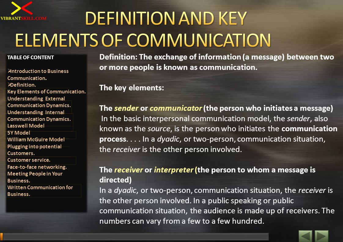 Definition: The exchange of information (a message) between two or more people is known as communication. The key elements: The sender or communicator